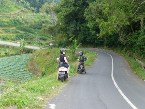 Natasha and I tearing it up in Bali on our beasts!