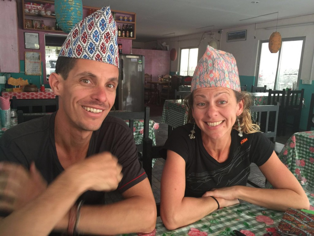 Sally and I model some traditional Nepalese hats for SherpaG
