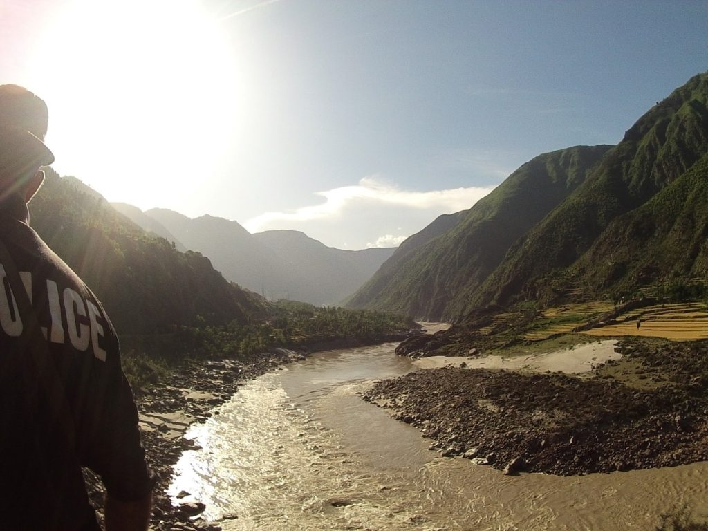 the Indus river following the KKH
