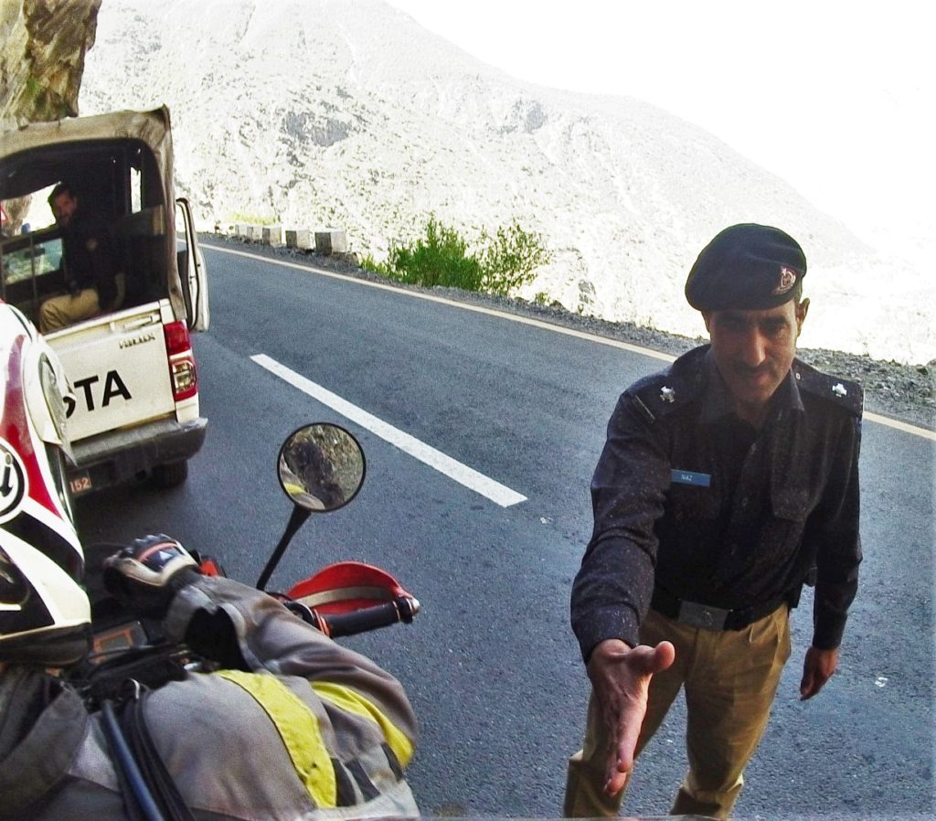 police escort welcomes us to Pakistan