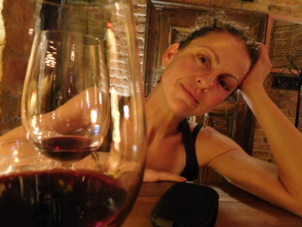Sally drinking wine... as usual.