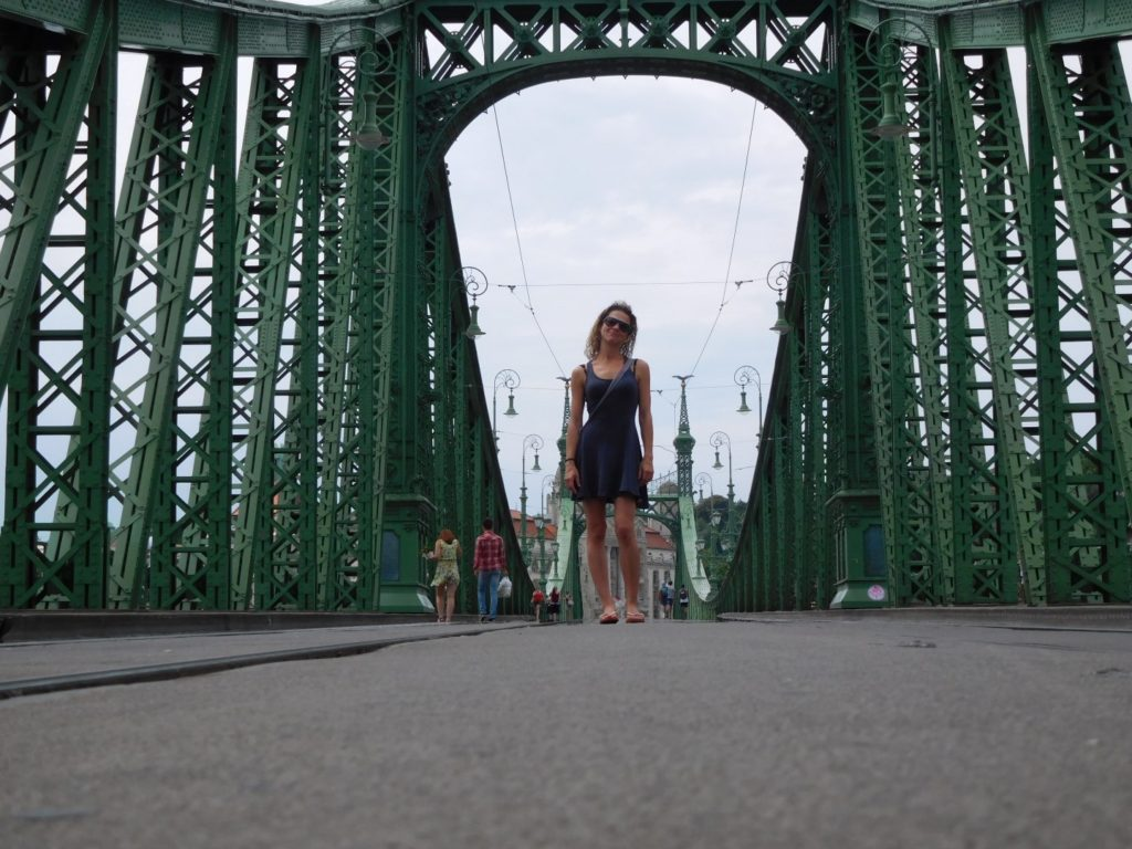 Sally on the green bridge across the Danube, (closed to traffic for roadwork)